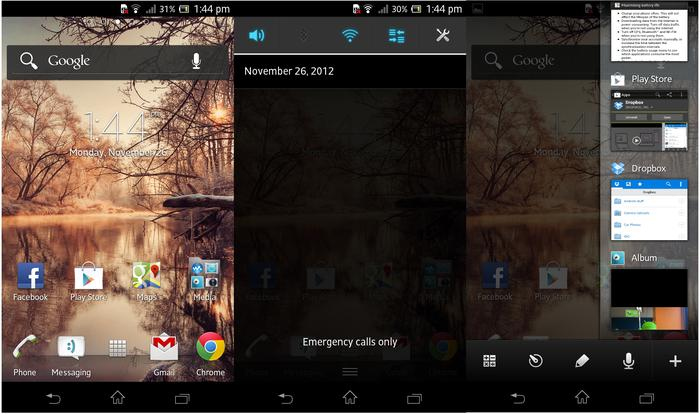 The Xperia TX provides a pleasing user experience. From L to R: the home screen, notifications window and multitasking menu.