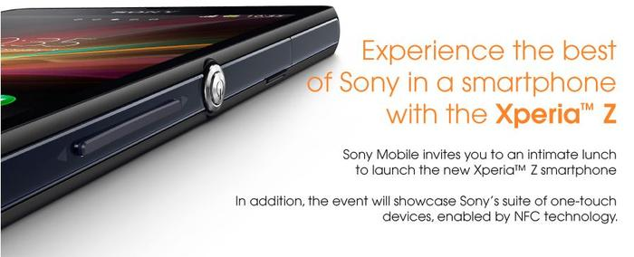 Sony's invitation for the Xperia Z launch event, scheduled for Wednesday 20 February.