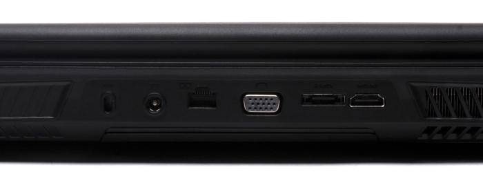 The rear has a cable lock facility, power, Gigabit Ethernet, VGA, eSATA and HDMI ports.