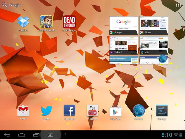 The Agora Mini 8 runs a vanilla version of Android 4.1 Jelly Bean.