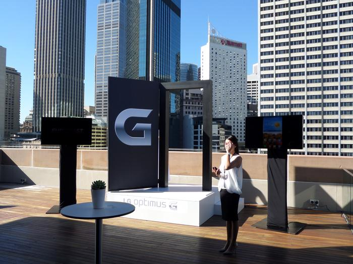 An LG representative demonstrating the Optimus G in Sydney today.