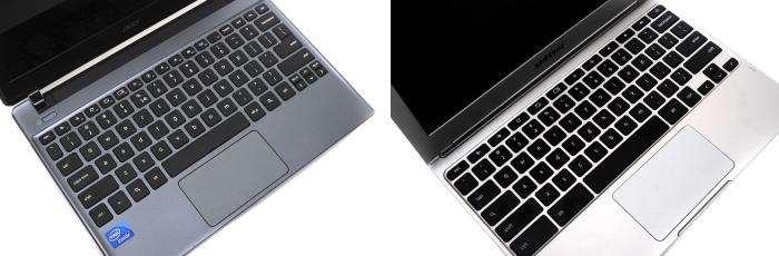 The Acer keyboard on the left, Samsung on the right.