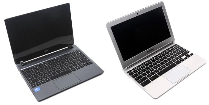 Chromebooks: Acer's C710 (left) and Samsung's XE303C12 (right)