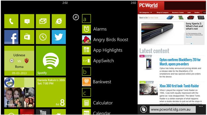Using the Windows Phone 8 interface on the Lumia 620.