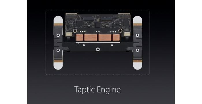The new Trackpad uses force to detect clicks all over the pad, and there is a Taptic engine to provide tactile feedback.