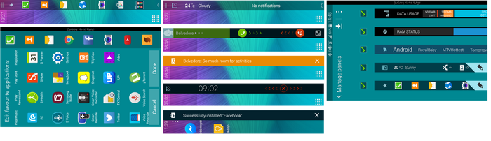 Different apps can be docked; the various types of notifications displayed on the edge; Picking the different edge faces