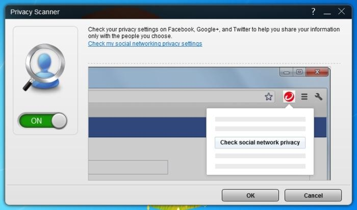 It's easy to enable the Privacy Scanner, which then puts a little button in your browser than you can click at any time to check on your social networking privacy settings.