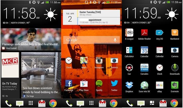 From L to R: HTC BlinkFeed, a regular home screen on the One and the app drawer.