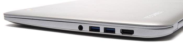 The right side has a full-sized HDMI port, two USB 3.0 ports, and the audio port. Some people may be inconvenienced by the placement of both USB ports on the same side.