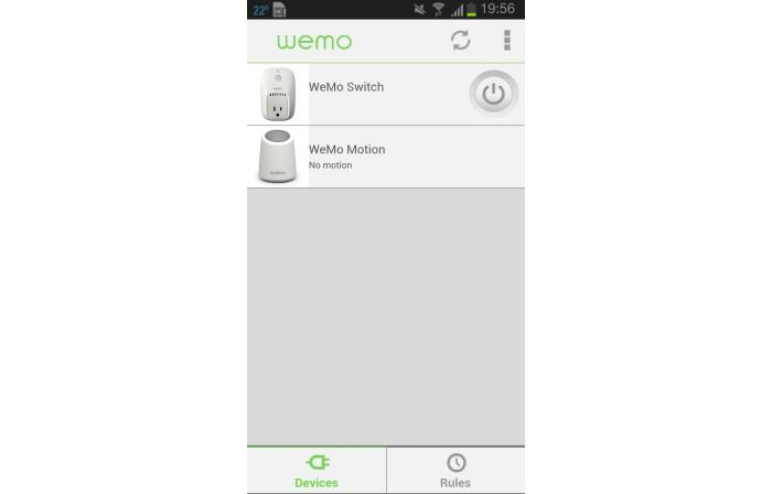 The main WeMo interface once you have set up both the Switch and the Motion.