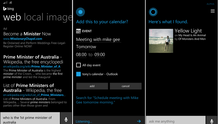 Microsoft's Cortana personal assistant
