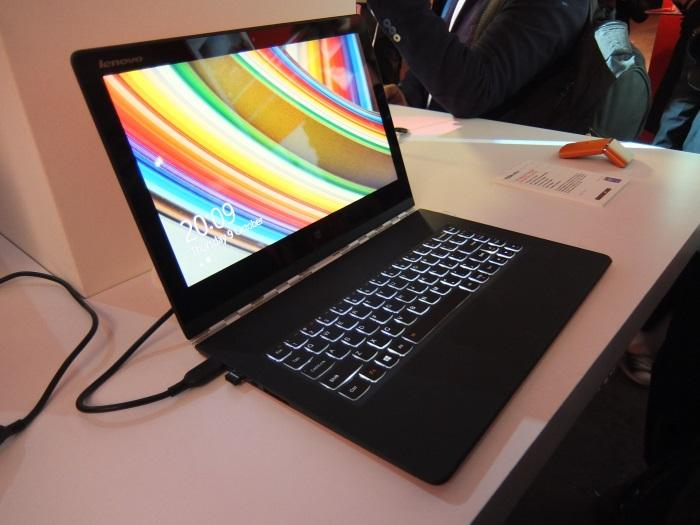 The Yoga 3 Pro sitting comfortably as a laptop.